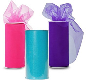 Classic Tulle - 3 Spools of Tulle Fabric, 25-Yard each, Turquoise / Pink / Purple