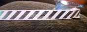Large Silver Striped Grosgrain Ribbon Mini Spool Ribbon - 1.8m