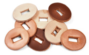 50 Natural Full Grain Leather Spacer Rings -- Assorted Hues