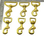 Okones Pack of 4Pcs,2.5cm - 1.5cm Inner Width,7.6cm - 0.4cm OAL,Heavy Duty Solid Brass Swivel Eye Lobster Clasp Bolt Snap Hook for Straps Bags Belting Outdoors Tents Pet