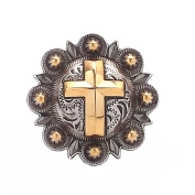 Cross Berry Concho Silver with Rose Gold All Metal 2.5cm 1736-NG