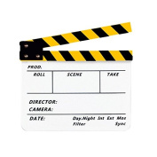 "Tyoungg Yellow White Slate Acrylic Plastic Dry Erase Film Movie Clapboard Clapper Board Cut Action Scene Director's Clapper Board 10x12""/25x30 cm"
