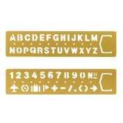 Brass Alphabet & Number Template Set of 2,JoyTong Multifunctional Drawing Stencil Bookmark Lettering Stencil Set Guide with Symbols