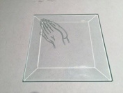7.6cm Square Engraved Praying Hands Premium 1.3cm Bevelled Glass - Pkg of 12