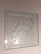 10cm Square Engraved Unicorn Premium 1.3cm Bevelled Glass - Pkg of 8