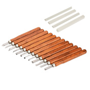 Mudder 12 Pieces Wood Handle Carving Chisels Tools with 4 Pieces Whetstones and Storage Case