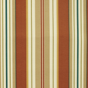 Lancester Clay Red Beige White Blue Green Stripe Print Outdoor Upholstery Fabric by the yard