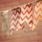 3.4M Length / 21 Flags Chevron Natural Hessian Burlap Banner Wedding Party Decorations Bunting Banner