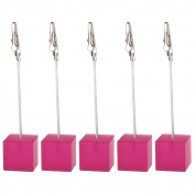 10 Pieces, Clickstore Shocking Pink Cube Wire Picture, Photo, Note, Card, Desk, Memo, Photo Clip Holders Stand Wedding Place Tabel Deco