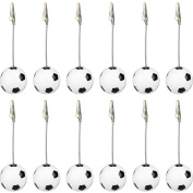 12 Pieces, Clickstore Solid Resin Soccer, Us Football Wire Recipe, Desk, Card, Note, Memo, Photo Clip, Holder Or Paper Weight