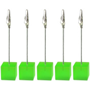 10 Pieces, Clickstore Green Cube Wire Picutre, Note, Card, Table, Memo Clip, Photo Holder, Standing Table Wedding Place Decoration, Party Favour
