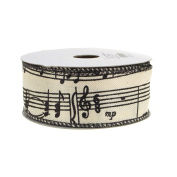 Musical Notes Canvas Ribbon, Ivory, 3.8cm , 10 Yards