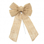 Natural Burlap Bow with Wire, 43cm