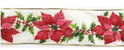 Poinsettia Gold Edge wired ribbon 6.4cm x 10 yards