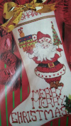 Merry Christmas Santa Stocking Counted Cross Stitch Kit 50591