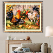 MEXUD-5D Diamond Farm Chicken Coop Cross Stitch Kit Painting Embroidery Home Decor
