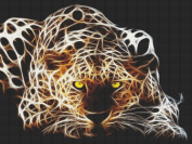 Pounce Leopard Fractal Cross Stitch Pattern - Spiral Bound Book Pages Lays Flat - Incredible detailed design. Stitching Tips/Fabric Planning Guide included.