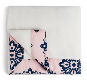 Bourina Coral Fleece Baby Blanket with Printed Cotton Fabric Trim 80cm x 100cm