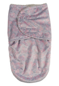 Laura Ashley Infant Swaddle Sack, Grey Floral Print on Mink with Sherpa Lining