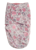 Laura Ashley Infant Swaddle Sack, Pink Floral Print on Mink with Sherpa Lining