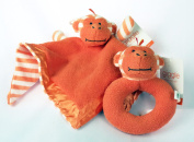 Gigglebaby Miles Monkey Jungle Friends Snuggle Security Blanket & Matching Rattle