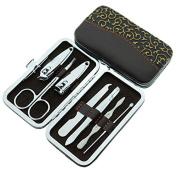 GeoBIX(TM) 7pcs/Set Nail Clipper Kit Nail Care Pedicure Scissor Tweezer Knife Ear pick Utility Manicure Set Tools+Stone Pattern/grid Case