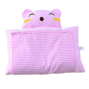 Eonkoo Pink Lovely Cat Pattern Design Baby Positioner Pillow for sleep , Prevent Flat Head With Natural Organic Soft Cotton Protective Sleeping Pillow for Newborn Gifts