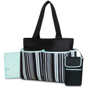 Tender Kisses Nappy Bag Bottle Cooler & Changing Pad - Striped