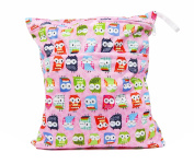 Pink Owl Double Zippered Waterproof Reusable Washable Two Pocket Wet/Dry Swimsuit Nappy Bag
