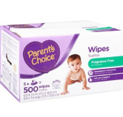 Parent's Choice Fragrance Free Contains Aloe and Vitamin E Extra gentle formula Baby Wipes, 500 sheets