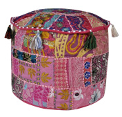 Indian Embroidered Deisgn Round Patchwork Floor Cushion Cover 17 X 43cm X 30cm