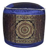 Mandala Work Design Silk Round Footstool Ottoman Cover 17 X 43cm X 30cm