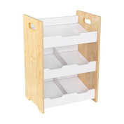 Natural and White Polyester Solid Microfiber 3-shelf Angled Bin Unit