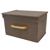 DDSKY Foldable Linen storage box, Convenient Storage Bin with Lid and Wooden Handle, Breathable, Dry and Clean