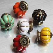 Skert 7pcs Multicolor Ceramic Pumpkin Baby Kid's Bedroom Furniture Drawer Handles Decorative Door Cabinet Dresser Knobs Pull Cartoon Cupboard Handl Knobs with Screw Pack of 7