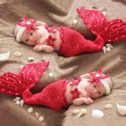 Eworld66 Newborn Baby Girls Mermaid Headband Bra Tail Crochet Photography Prop Red