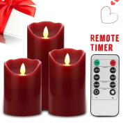 Honeyall Flameless Candles 10cm 13cm 15cm Set, 3 Burgundy Colour Real Wax Pillars LED Candles include Realistic Dancing LED Flames and 10-key Remote Control with 24-hour Timer