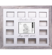 Custom Calligraphy 12 Month Timeline Newborn Collage 46cm by 60cm Picture Frame with White Mat and Wall Hangers