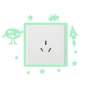 Happu-store(TM) 1 Pcs Cute Alien Luminous Switch Wall Sticker Cartoon Kids Bedroom Home Decor