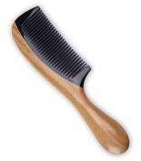 Cavin Schon Sandalwood Hair Comb | No Static Detangling Natural Aroma Handmade OX / Buffalo Horn Comb