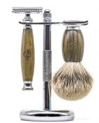 Sandalwood Safety Razor Set for Men - Classic Safety Razor Style Shaving Razor Set Complete with Shaving Brush and Stand