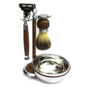 AKPOWER™ Wood Shaving Set for Men, Badger Brush, Bowl, Stand and Safety Razor