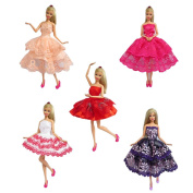 5 set of Handmade Barbie Dresses Clothes Outfit for Barbie Doll by Yiding