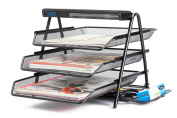 Halter Steel Mesh Desktop 3-Tier Shelf Tray Organiser - Letter-Size - Black