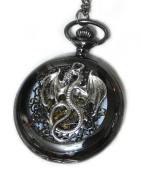 Dragon Black Pocket Watch Necklace Pendant - Vintage Victorian Style - Steampunk Retro Pocketwatch Fly Dragon charms