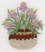 Irises in Pottery - Edmar kit #1422, Brazilian embroidery KIT, White Fabric