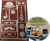 Moustache Stencils including Hat, Bowtie, Tie, Eyeglasses and Pipe Reusable Adhesive Templates + How to Etch CD