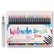 Dainayw Watercolour Brush Pens Set ,Soft Flexible Tip, Durable, High Quality, Create Watercolour Effect - Best for Adult Colouring Books, Manga, Comic, Calligraphy - 20 Colours