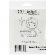 C.C. Designs Swiss Pixie Cling Stamp, 8.3cm by 8.9cm , Baby Jesus and Angel