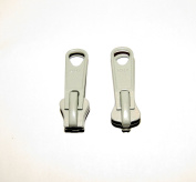 YKK Zipper Pull Tab Sliders, Boat Canvas #8, Double Metal Pull Tab Zipper Sliders, 2 Piece, Grey